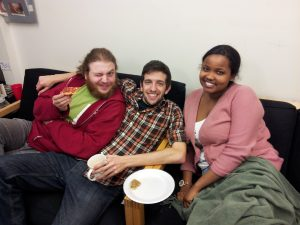 Staff and volunteers waiting to cover the SFUO election. Pizza is an essential part of the process.
